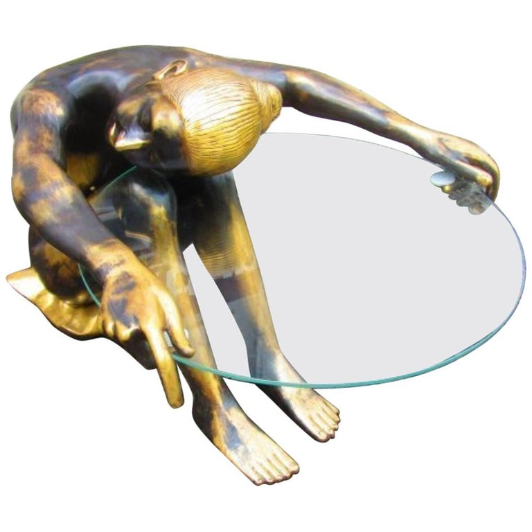 Sitting Lady Bronze Figure with Glass Tabletop, 1920s For Sale