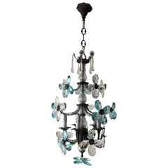 French Maison Bagues Style Aqua Blue Clear Crystal Prism Flowers Chandelier 1900