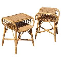 Pair of Nightstands Bonacina Design Italian Mid-Century Modern Bamboo, 1950s