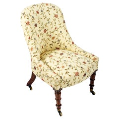 19th Century Victorian Upholstered Slipper Chair With Rosewood Legs