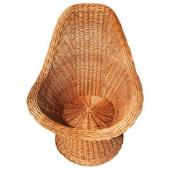 Bamboo Italian Midcentury Armchair Brownhand Woven by Skilled Artisans Bonacina