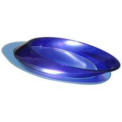 Large Oval Bowl Blu Cobalt Crystal Italian Design 1980 Mirror Satin Base
