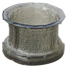 Timo Sarpaneva Glass Crystal Vase Brutalist Modern Design, Finland, 1960 Grey