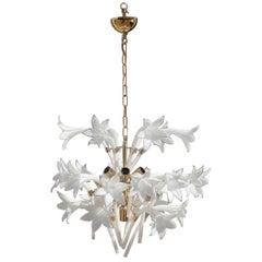 Round Chandelier Murano Glass Flowers White Gold Brass Italian Design, 1970