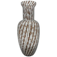 Modern Murano Glass Vase in Black Zanfirico & White Filigrana by Cenedese, 1990s