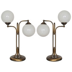 Midcentury Pair of Italian Brass Glass Articulated Double Arm Table Lamps