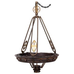 19th Century French Brass and Wood Hanging Lamp Decorated with Crosses