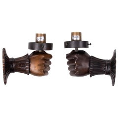 1990s Pair of French Hand Shaped Wall Sconce