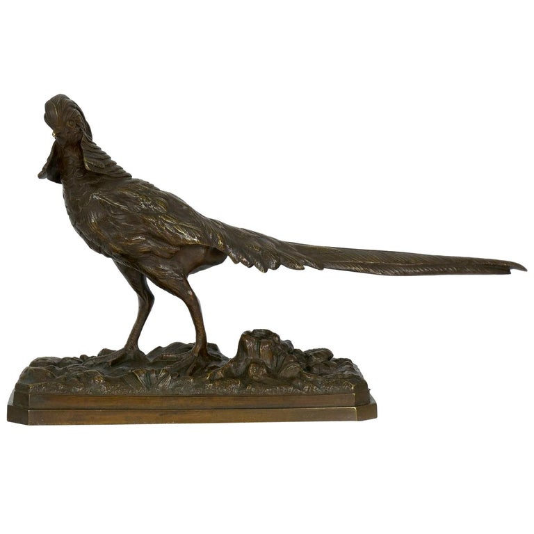 19th Century French Antique Bronze Sculpture of Golden Pheasant by Henri Trodoux For Sale