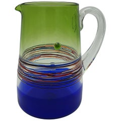 Modern Colorful Murano Glass Pitcher or Jug by Gino Cendese e Figlio, 1990s