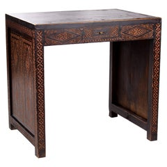 1930s Turkish Hand Carved Wooden Single Drawer Table