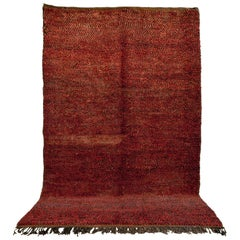Vintage Moroccan Handwoven Berber Tribal Deep Red Wool Floor Rug