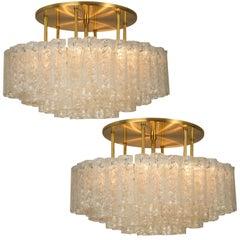 Pair of Large Blown Glass Brass Flush Mount Light Fixtures by Doria