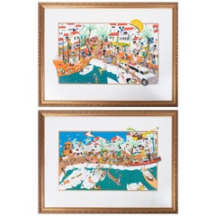 1980s Pair of Marbellas Banus Port Numbered and Signed Lithographies