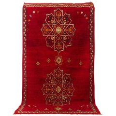 Vintage Moroccan Handwoven Berber Tribal Red Wool Floor Rug