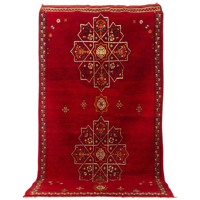 Vintage Moroccan Handwoven Berber Tribal Red Wool Floor Rug For Sale