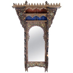 19th Century Moroccan Painted Wood Wall Mirror