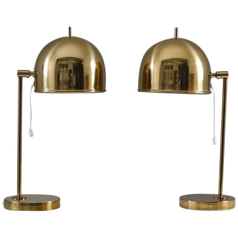Midcentury Table Lamps in Brass by Eje Ahlgren for Bergboms, Sweden For Sale