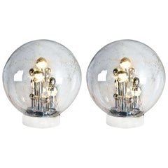 Pair of Large Handblown Bubble Glass Doria Table Lamps, 1970