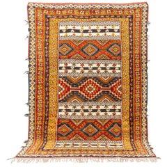 Vintage Midcentury Moroccan Berber Orange Wool Floor Rug