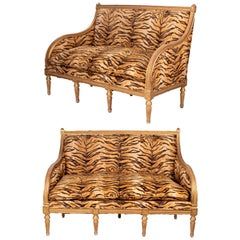 1750s Pair of French Charles IV Gold Gilded Upholstered Sofas