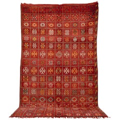 Vintage Moroccan Red Boujad Handwoven Wool Floor Rug