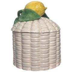 Sicilian Giovanni Capuani Este Porcelain Lemon Sugar Bowl Number 78, Italy 1940s