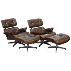 Pair of Vintage Heritage Brown Leather Lounge Armchairs & Matching Ottoman Eames