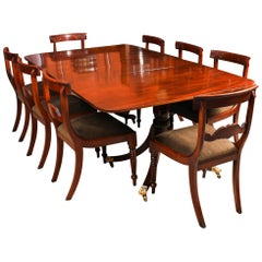 Antique Twin Pillar Regency Dining Table 19th Century and 8 Bespoke Chairs