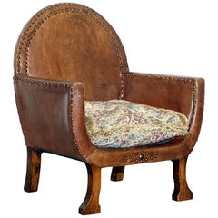 Small Original Edwardian Leather and Oak Children's Club Armchair Hand Studded