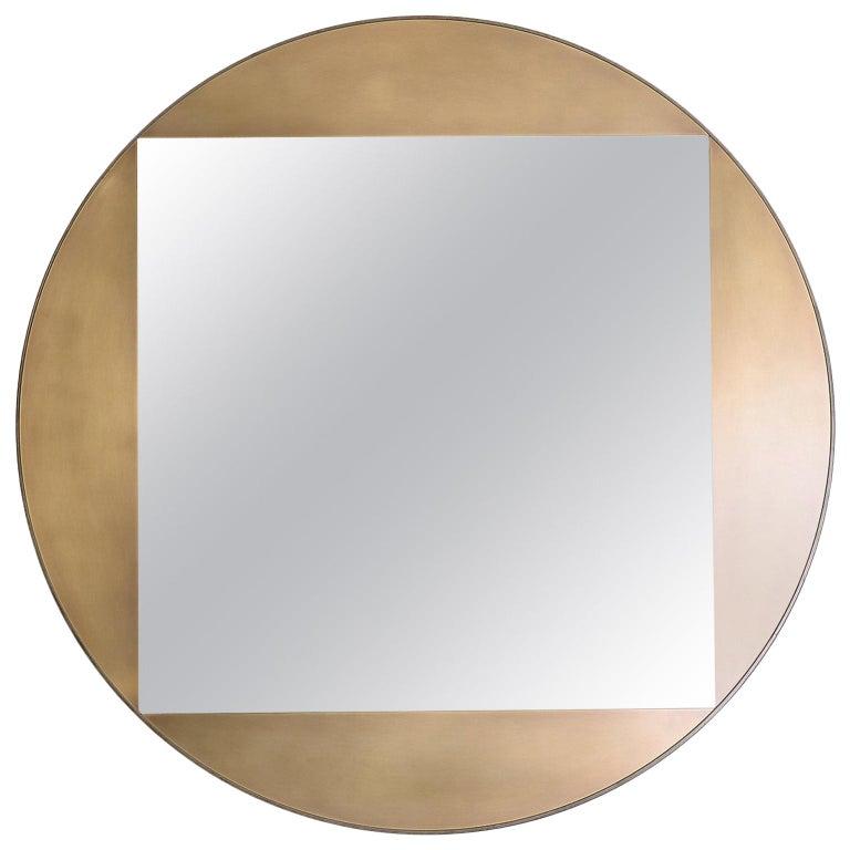 "Gotham Round Mirror 48"", Customizable For Sale"