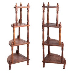 1980s Pair of Carved Step Shelves with Brass Inlays
