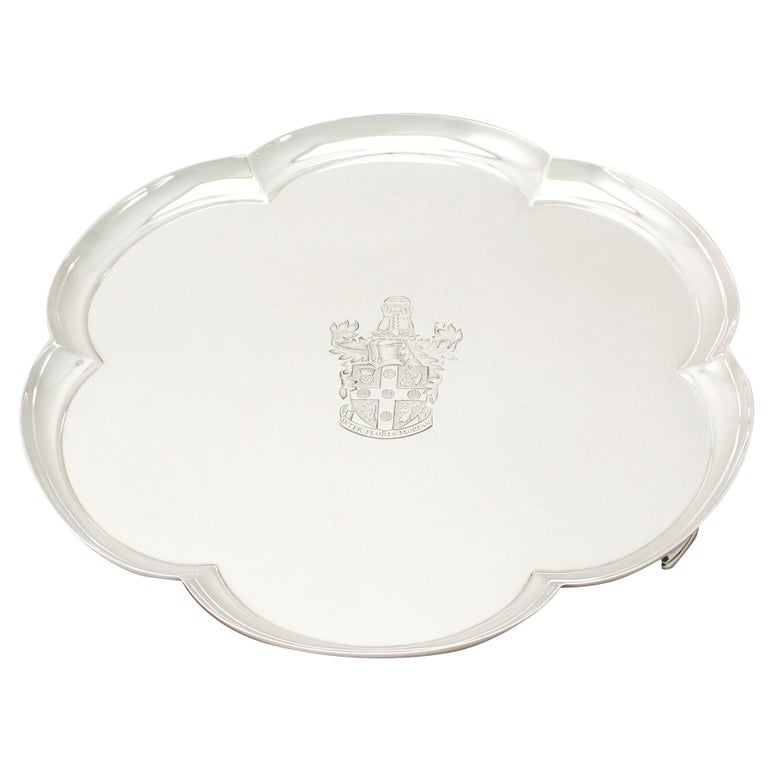 Vintage Elizabeth II George I Style English Sterling Silver Salver For Sale