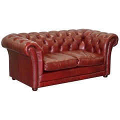 Tetrad England Reddish Brown Leather Chesterfield Sofa Part of Suite