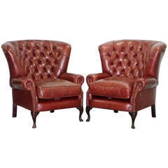 Pair of Tetrad Chesterfield Brown Leather Barrel Wingback Armchairs