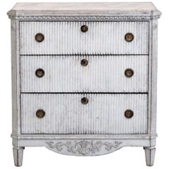Gustavian Style Chest, with Many Fine Carvings, Faux Painted Marble Top