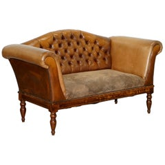 Mixed Brown Leather Chesterfield Two-Seat Club Sofa with Suede Leather Base