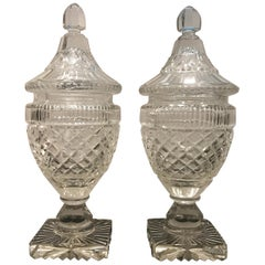 Pair of Georgian Period Cut Glass Sweet Meat Urns
