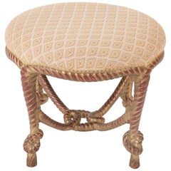 Italian Carved Giltwood Rope and Tassel Stool