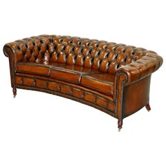Very Rare Curved Front Fully Restored Cigar Brown Leather Chesterfield Club Sofa
