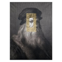 Decorative Panel Leonardo Face, Printed Canvas and Golden Leaf Decoration, Italy