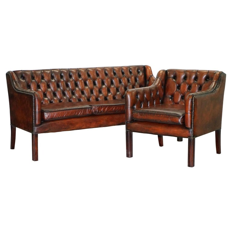 Vintage Restored Chesterfield Brown Leather Gun Suite 3-Seat Sofa and Armchair For Sale