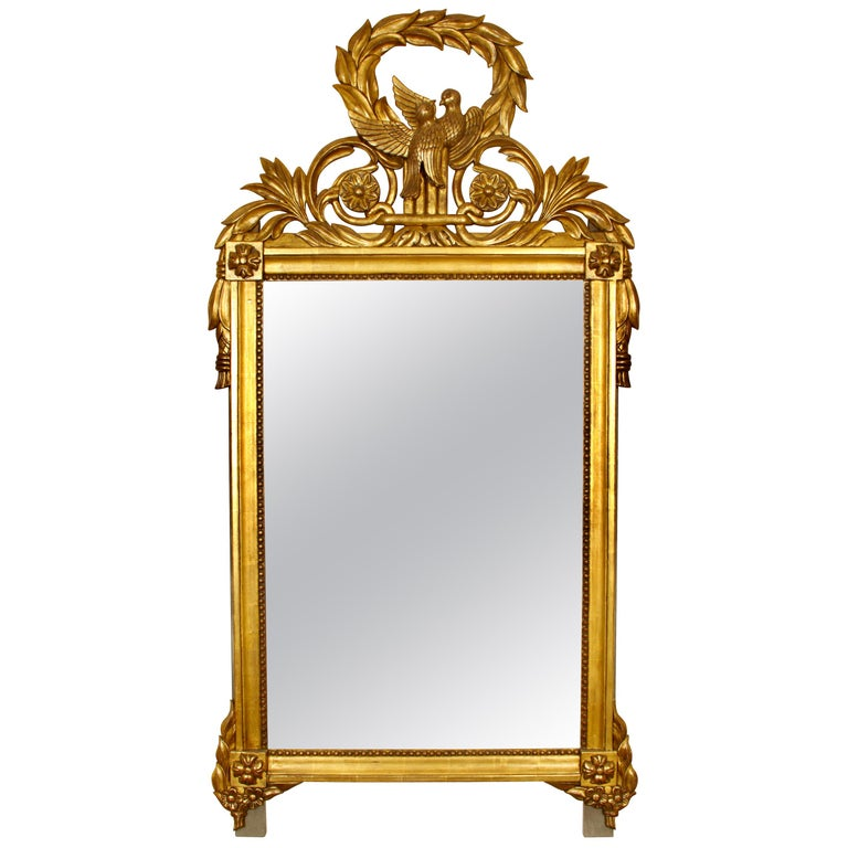 Giltwood French Louis XVI Style Mirror For Sale