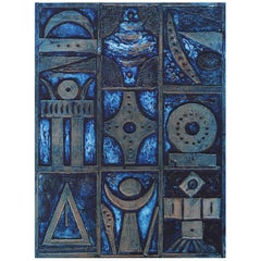 "Noche Crist Embossed Work on Paper ""Blue Collograph"", 1970"