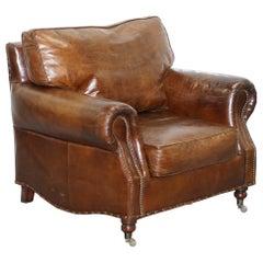 Comfortable Timothy Oulton Balmoral Halo Heritage Vintage Brown Leather Armchair