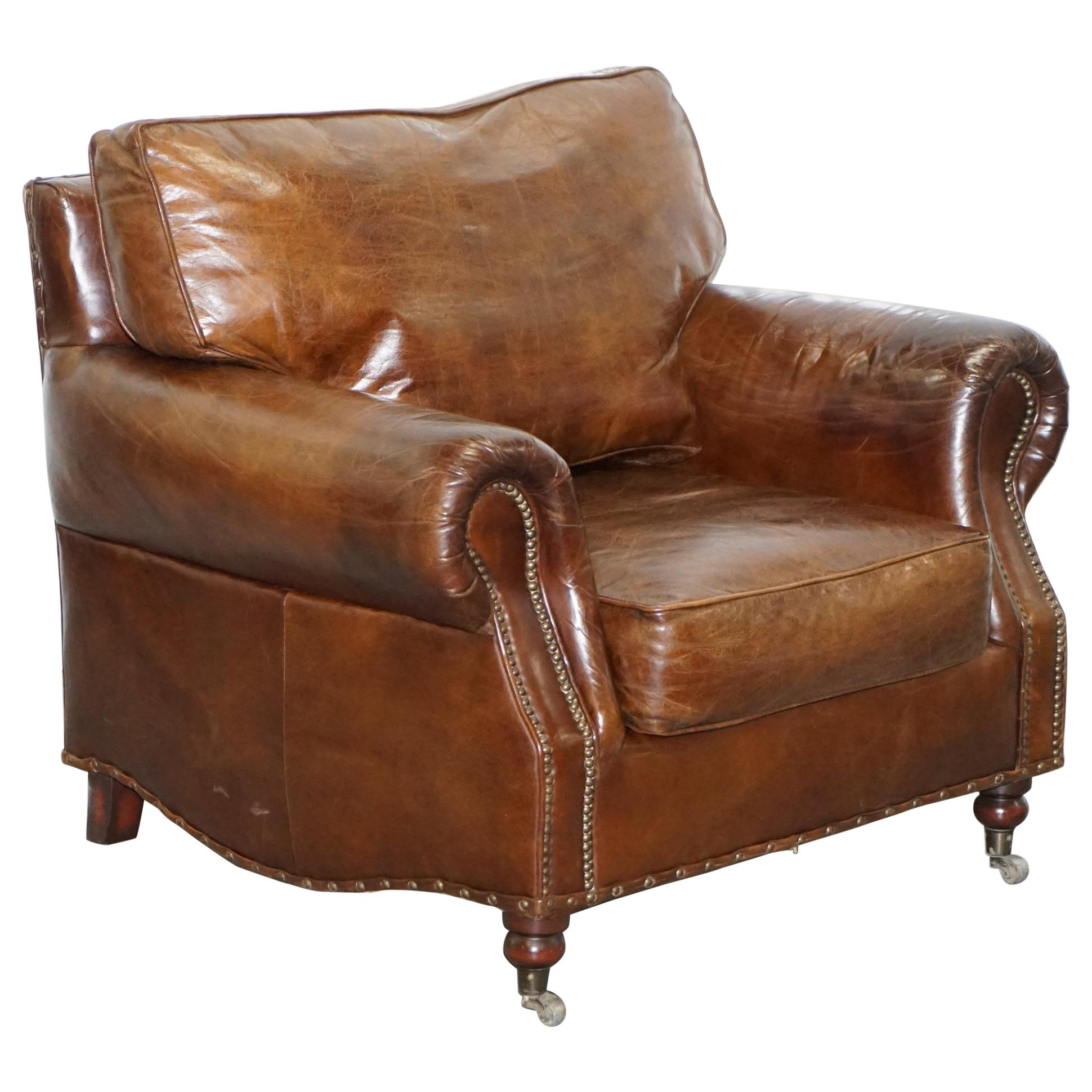 Comfortable Timothy Oulton Balmoral Halo Heritage Vintage Brown Leather  Armchair