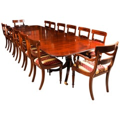 Vintage 3 Pillar Dining Table by William Tillman and 12 Chairs, 20th Century