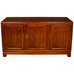 Mid-Century Wood Credenza with Gilt Detail
