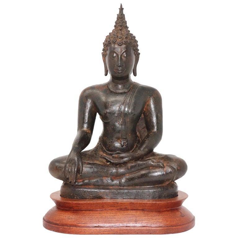 Thai Ayutthaya Bronze Seated Buddha Figure, 14th-15th Century For Sale