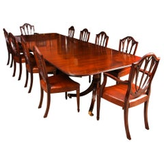 3 Pillar Dining Table by William Tillman 20th Century & 10 Chairs 19th Century